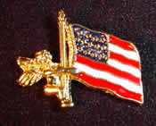 Angel Holding Flag Pin