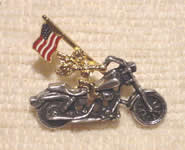 Angel with Flag on Motorcycle Pin/Tie Tac